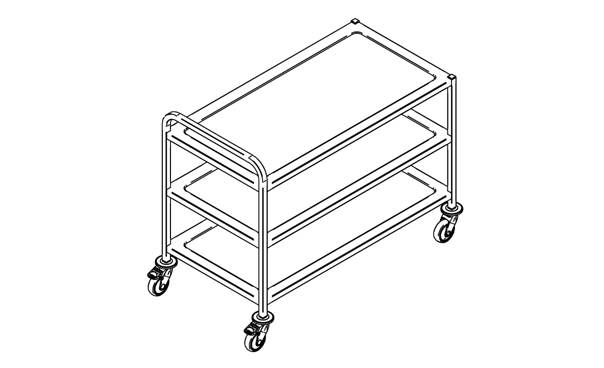 Three tier service trolley KV-112/3