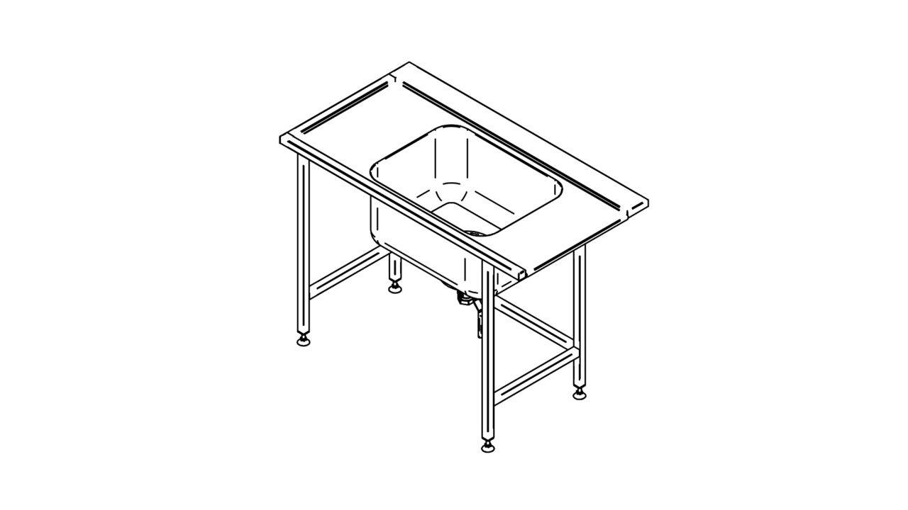 Stainless steel pre wash table (1000-1400mm)