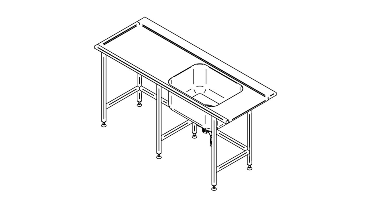 Stainless steel pre wash table (1500-2900mm)