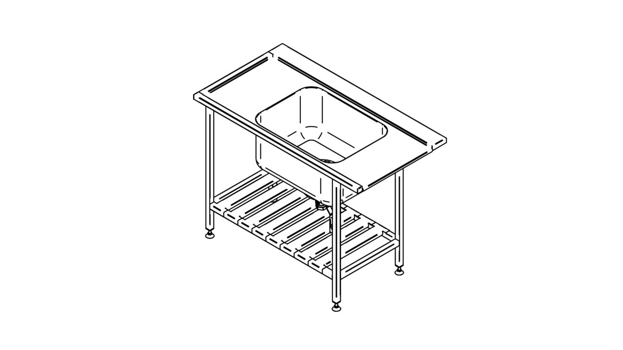 Stainless steel pre wash table with shelf (1000-1400mm)