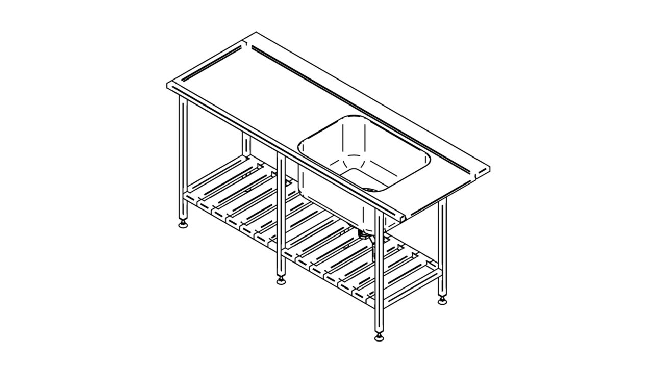 Stainless steel pre wash table with shelf (1500-2900mm)