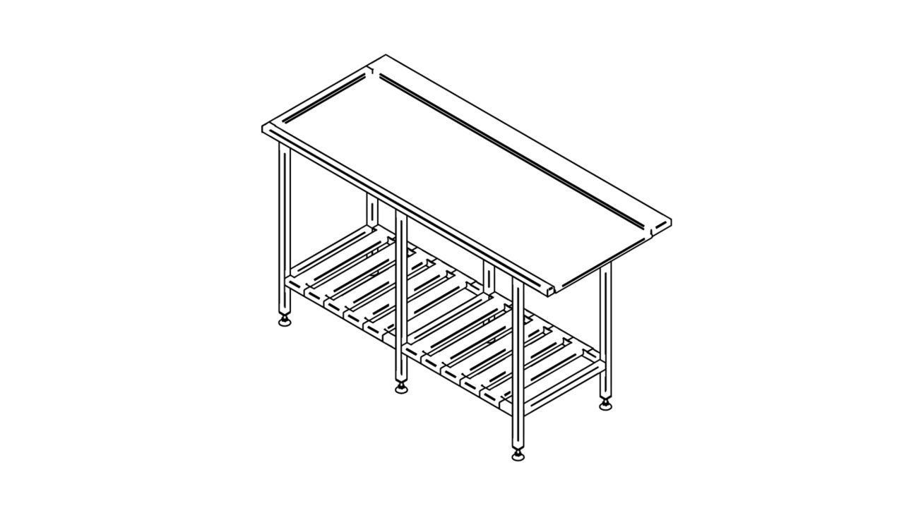 Stainless steel sorting table with shelf (1500-2900mm)