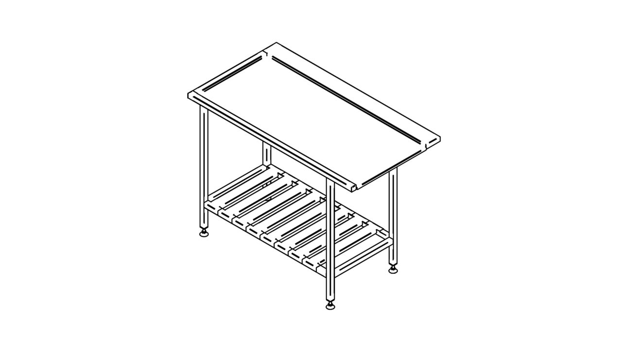 Stainless steel sorting table with shelf (600-1400mm)