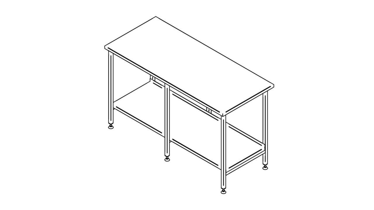 Stainless steel worktable with shelf (1500-2900mm)