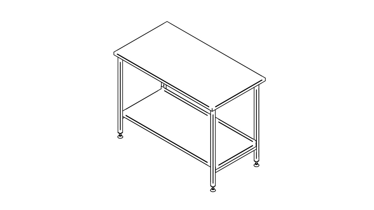 Stainless steel worktable with shelf (500-1400mm)