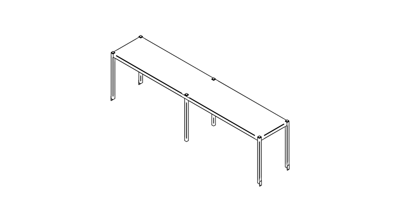Tabletop shelf with one level (1500-2900mm)