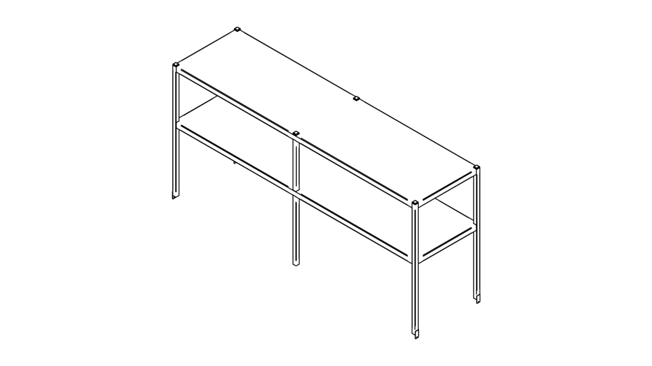 Tabletop shelf with two levels (1500-2900mm)