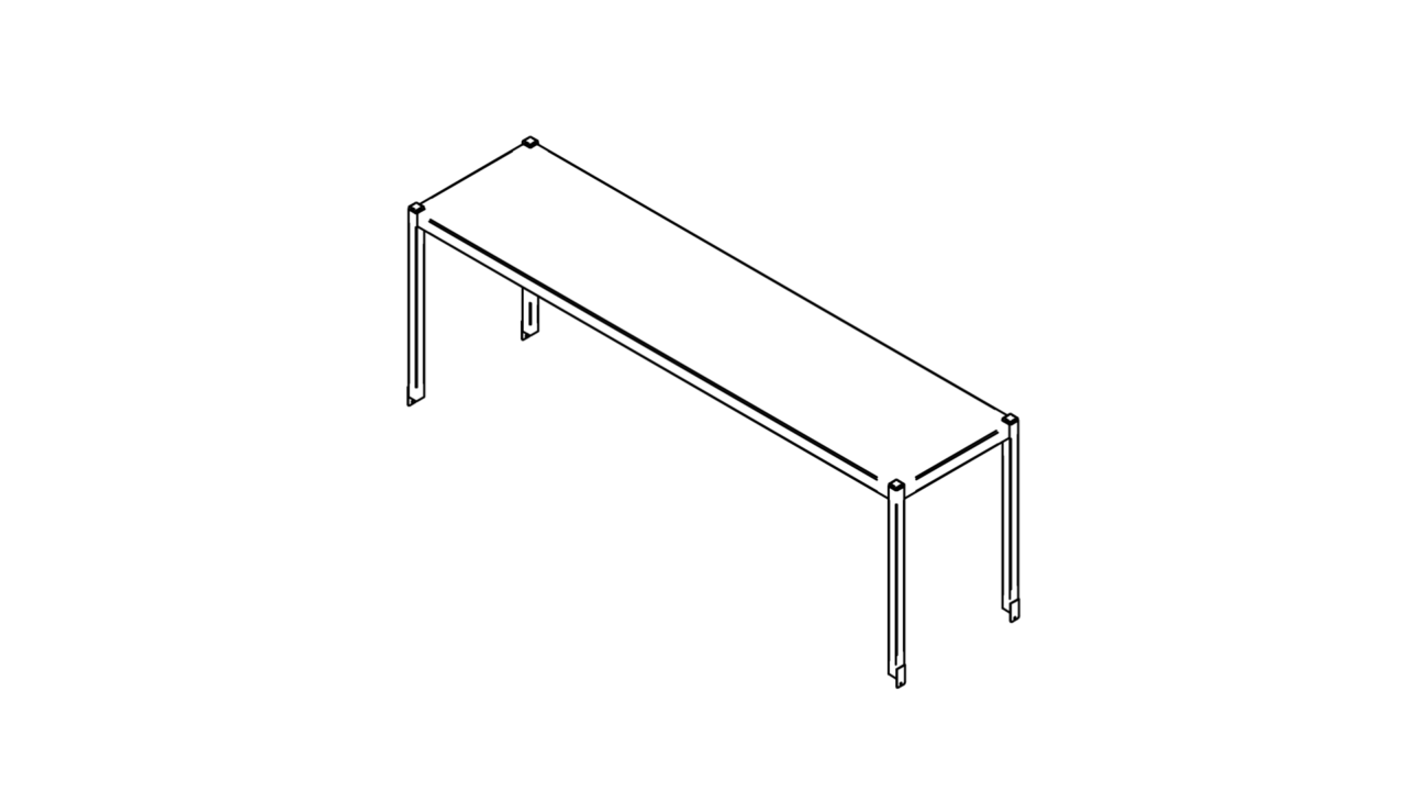 Tabletop shelf with one level (500-1400mm)