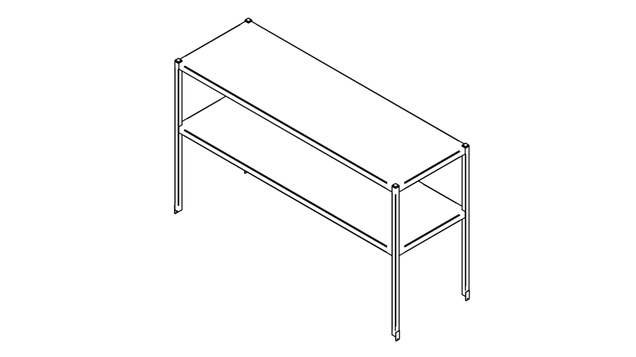 Tabletop shelf with two levels (500-1400mm)