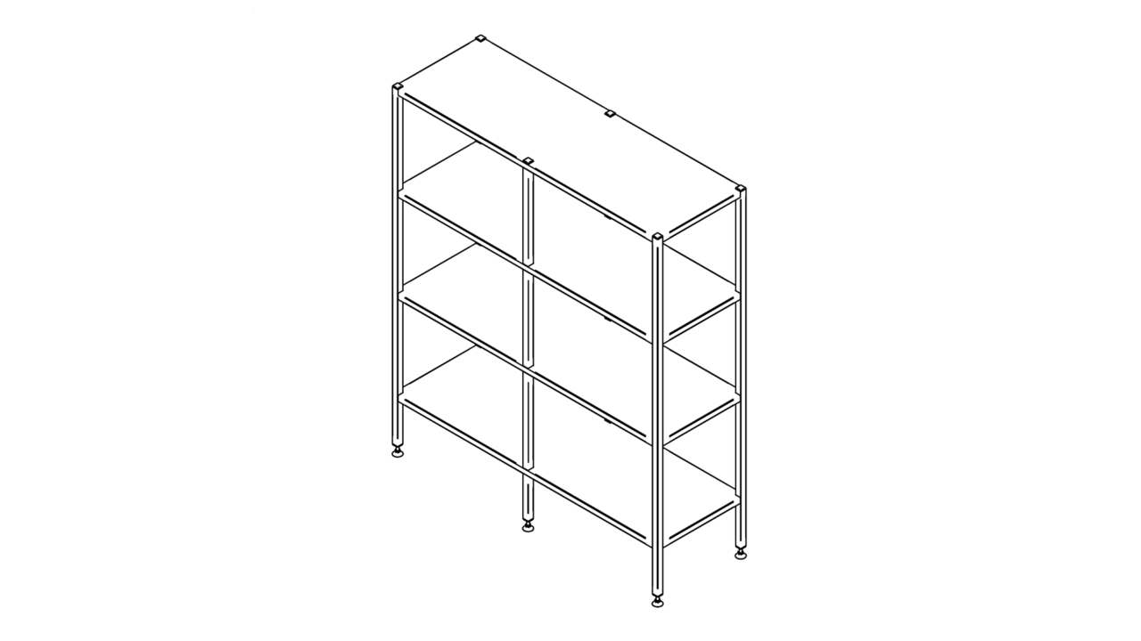 Floor shelf with four levels (1500-2900mm)