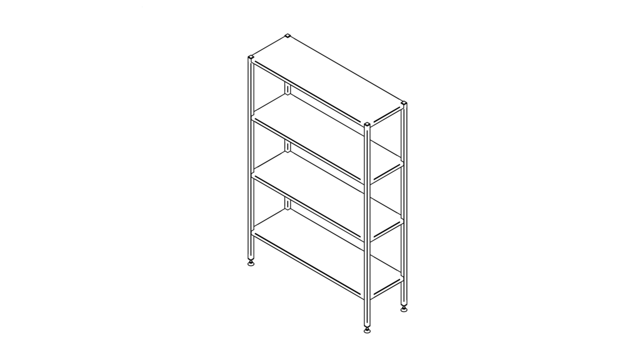 Floor shelf with four levels (500-1400mm)